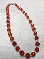 1930s Necklace Carnelian & Clear Glass Vintage Red Orange Jewellery Screw Clasp