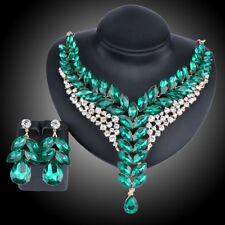 Fashion Gold Plated Green Crystal Wedding Party Necklace Earring Jewelry Set
