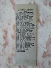 1949 Pittsburgh Pirates Home Schedule Baseball Matchbook Cover Greensburg PA