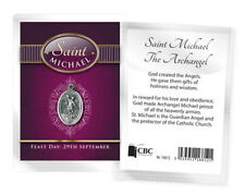 ST MICHAEL THE ARCHANGEL MEDAL AND BIOGRAPHY CARD IN A PLASTIC KEEPSAKE WALLET