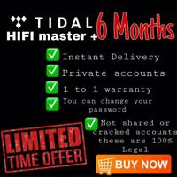 TIDAAL HiFi Masters + 6 Months Subscription  |180 Days WARRANTY | PRIVATE LOGIN✅