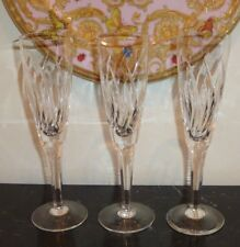 "STUART CRYSTAL CONTESSA 8 3/8"" FLUTTED CHAMPAGNE GLASS SET OF 3"
