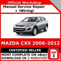 FACTORY WORKSHOP SERVICE REPAIR MANUAL MAZDA CX9 2006-2012 +WIRING