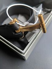 TOM FORD LUXURY BLACK CALF LEATHER T-BUCKLE BELT US 42 IN105 CM