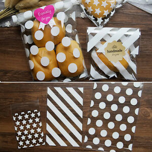 White Star Spots Cello Cellophane Birthday Party Favour Sweet Cookie Gift Bags