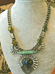 """NEW DANNIJO ARLEY silver plated Olive & teal stone collar Necklace 16-18"""" adj"""