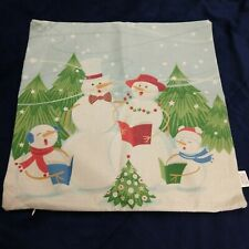 Snowman Family Christmas Holiday Pillow Cover 17 x 17 Caroling trees snow Stars