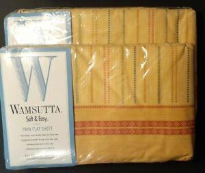 Vtg Pair Wamsutta Walden Plaid Twin Flat Sheet Soft & Easy Yellow Orange USA (2)