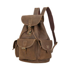 "Retro Brown Men's Real Leather 14"" Laptop Backpack Hiking Travel Shoulder Bag"