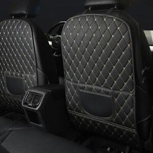 Auto Car Seat Back Anti Kick Pad Mat PU Leather Protector Cover Universal White