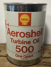 Vtg Shell Aeroshell AVIATION Turbine Motor Oil 1 Quart Oil Can Tin FULL 1965 NOS