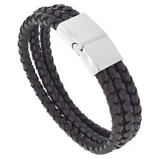 Black Leather 3-Strand Braided Bracelet w/ Stainless Steel Magnetic Clasp