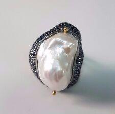 Glamorous White Baroque Pearl Blue Sapphire 925 Silver Handmade Ring