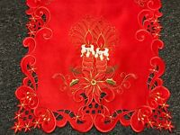 Red Christmas Embroidered Embroidery Poinsettia Candle Cutwork Placemat Runner