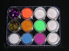 Nail Art Glitter Neon Set Glow in the Dark Powder Pigment, Hearts & Butterflies