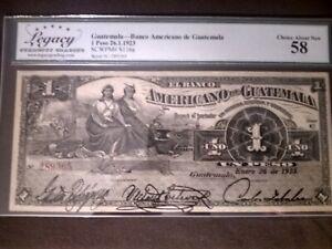 1923, Guatemala, 1 Peso, 58 LCG, GRADED & RARE!