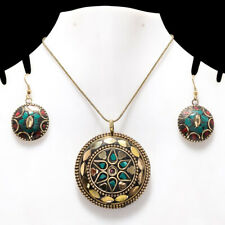 """BLUE TURQUOISE & CORAL GEMSTONE GOLD PLATED TIBETAN PENDANT & EARRING SET 17-18"""""""