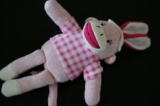EASTER Plush Dan Dee PINK White Checker Shirt SOCK MONKEY Bunny RABBIT Ears Doll