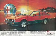 1985 ALFA ROMEO GTV 2-page advertisement, British advert, GTV 6