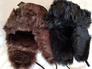 MEN'S LADIES SUEDE EFFECT FAUX-FUR RUSSIAN COSSACK TRAPPER SKI WINTER HAT