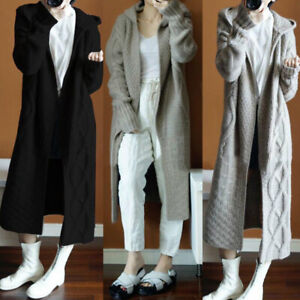 Long Knitted Cardigan Chunky Hooded Open Front Sweater Coat Winter Womens UK