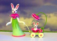 Handmade Miniature EASTER MOTHER BUNNY & BABY BUNNY & CARRIAGE BY OOAK C. ROHAL
