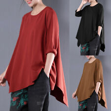 Womens Short Sleeve Loose T Shirt Causal Baggy Asymmetrical Blouse Top Plus Size