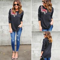 femme noir brodé fleur rose chemisier manches longues t-shirt coton