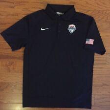 Nike Team Usa Basketball Jersey Polo Olympics Gold Medal Black Size Small