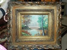 Vintage Original Signed Hiancth? Oil Landscape Mountain Oil Painting Wood Frame
