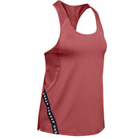 Under Armour Wordmark Tape Womens Ladies Fitness Training Vest Tank Pink