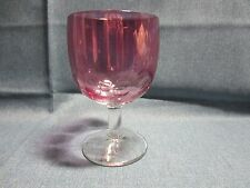 Vintage Footed Pedestal Thumbprint Mauve Purple Pink  Beer Heavy Glass