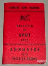 Original August 1953 Quebec Horse Racing Red Guide