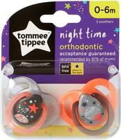 Tommee Tippee Night Time x 2 Ortho Dummy Pacifier Glow in the Dark Soother 0-6 M