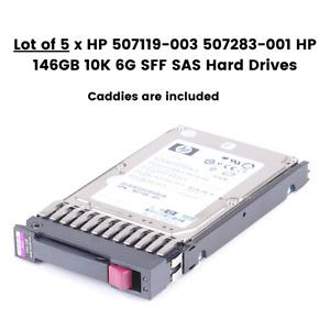 Lot of 5 x HP 507119-003 507283-001 HP 146GB 10K 6G SFF SAS Hard Drives