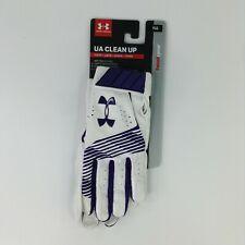 Under Armour Clean Up HeatGear Batting Gloves White Purple Baseball YLG NEW