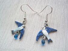 LITTLE BLUEBIRD Bead DROP SP Earrings Tibetan Silver Gift Bag Swallow Bird Blue