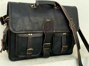 Leather Vintage Retro Men's Laptop Satchel Messenger Bag Handmade Large Capacity