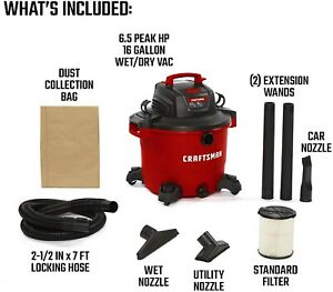 High-end Super Suction 16 Gallon 6.5 Peak HP Wet/Dry Vac, Heavy-Duty Shop Vacuum