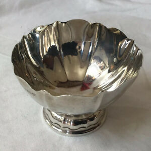 1922 Healex Clarke & Co. Solid Silver Pedestal Sugar Bowl, London Hallmark
