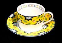 Beautiful Taitu Primavera Yellow Flat Cup And Saucer