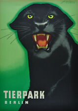 Parque animal Berlín cartel horst Naumann Panther original 1963 muy buen estado