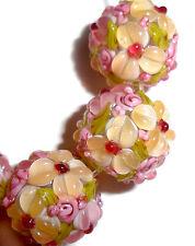 Lampwork Glass Bead Raised Petals Misty Rose & Peach 15 mm Round 4 Beads