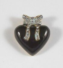 Black Heart with Crystal Bow Pendant