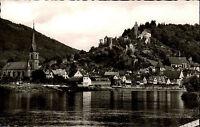 Hirschhorn am Neckar Postkarte ~1950/60 Gesamtansicht über den Fluß Kirche Burg