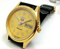 SEIKO 5 AUTOMATIC MEN,GOLD PLATED VINTAGE GOLD DIAL MADE JAPAN WATCH RUN ORDER