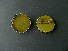 20 ANTIQUE BRONZE ROUND SINGLE EDGE CABOCHON FRAME SETTING BROOCHES  Fit 25mm