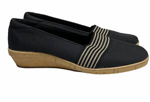 Grasshoppers Black Canvas Comfort Wedges Size 8.5 Wide