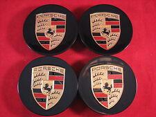 PORSCHE TEQUIPMENT BLACK CONCAVE WHEEL RIM CENTER CAPS 911 928 BOXSTER CAYMAN