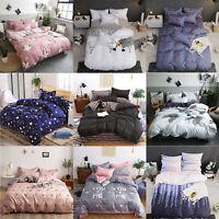4pcs Bedding Set Aloe Vera Cotton Quilt Duvet Cover Flat+Bed Sheet+2 Pillowcase
